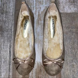 CHICOS - GOLD BOW FUR LINED FLATS NWT SIZE 10